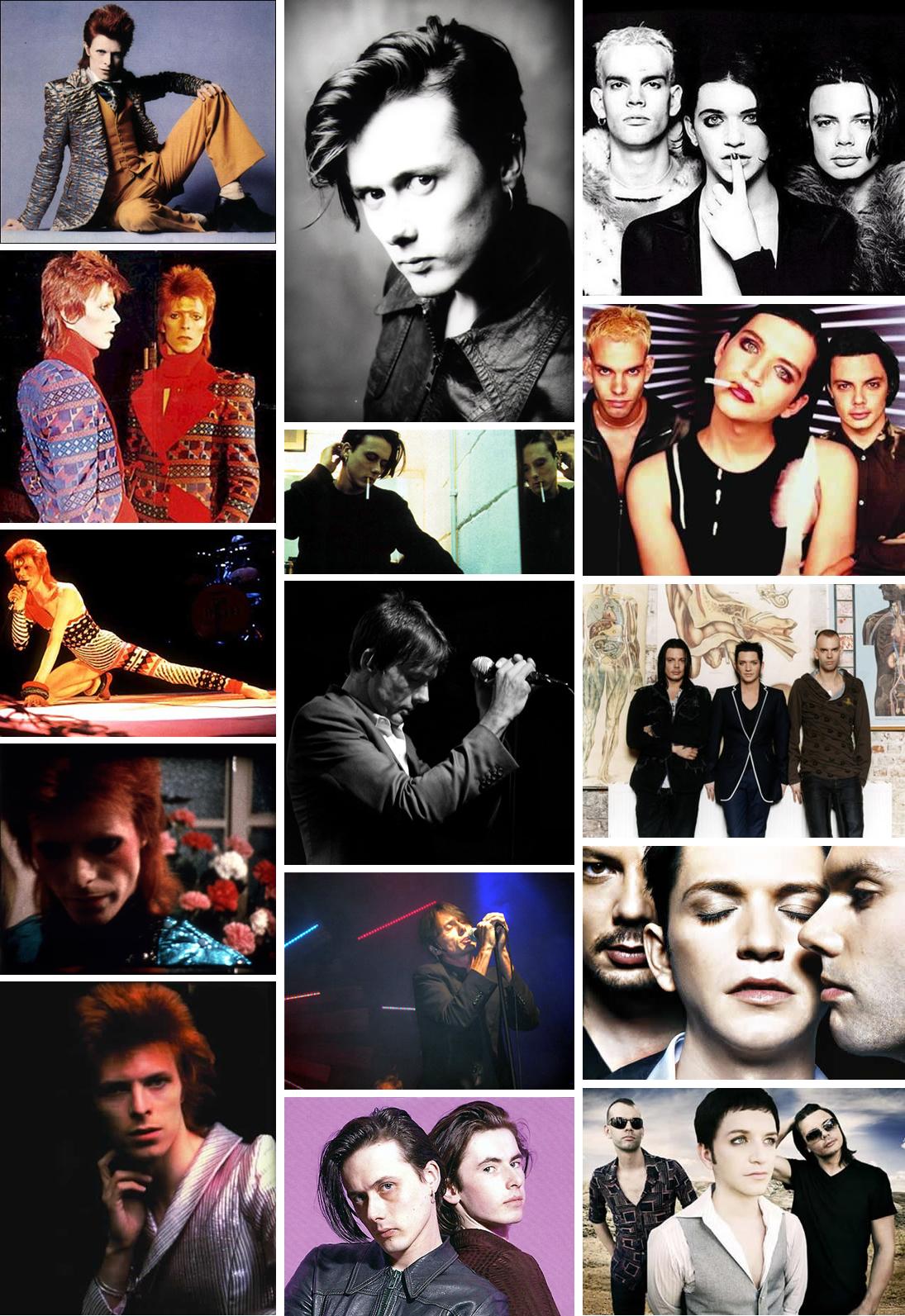 David Bowie (coluna da esquerda) Brett Anderson (Suede, coluna central) e Brian Molko (Vocalista da banda Placebo, coluna da direita)