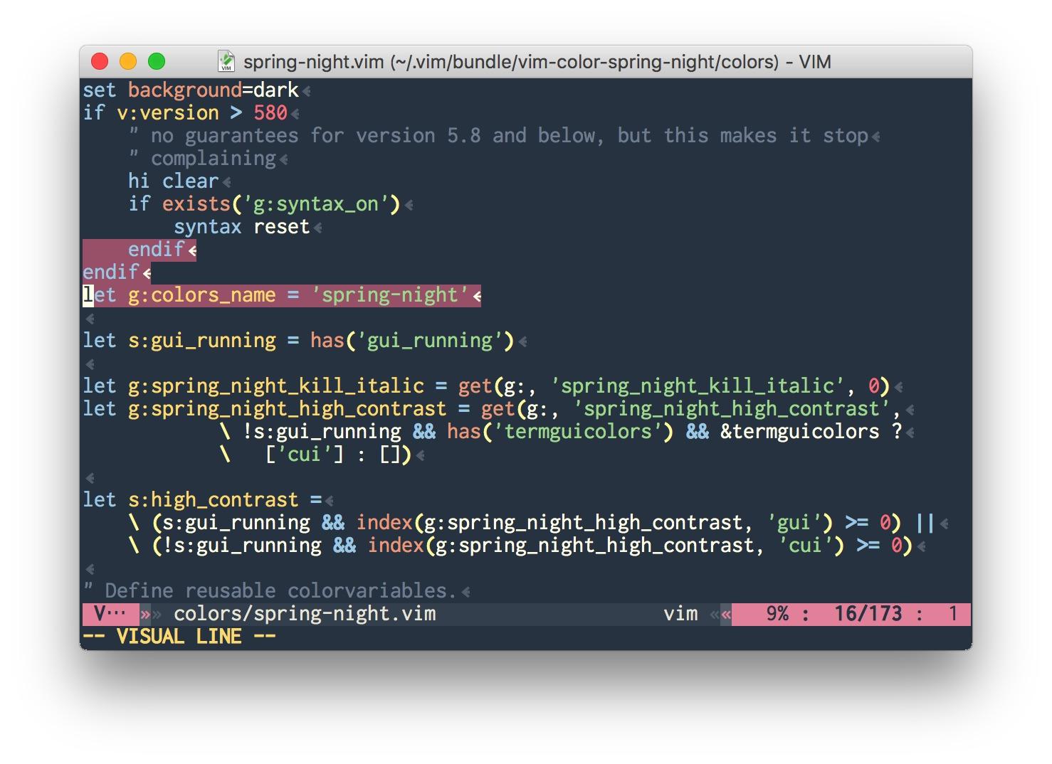 Vim script on gVim (MacVim)