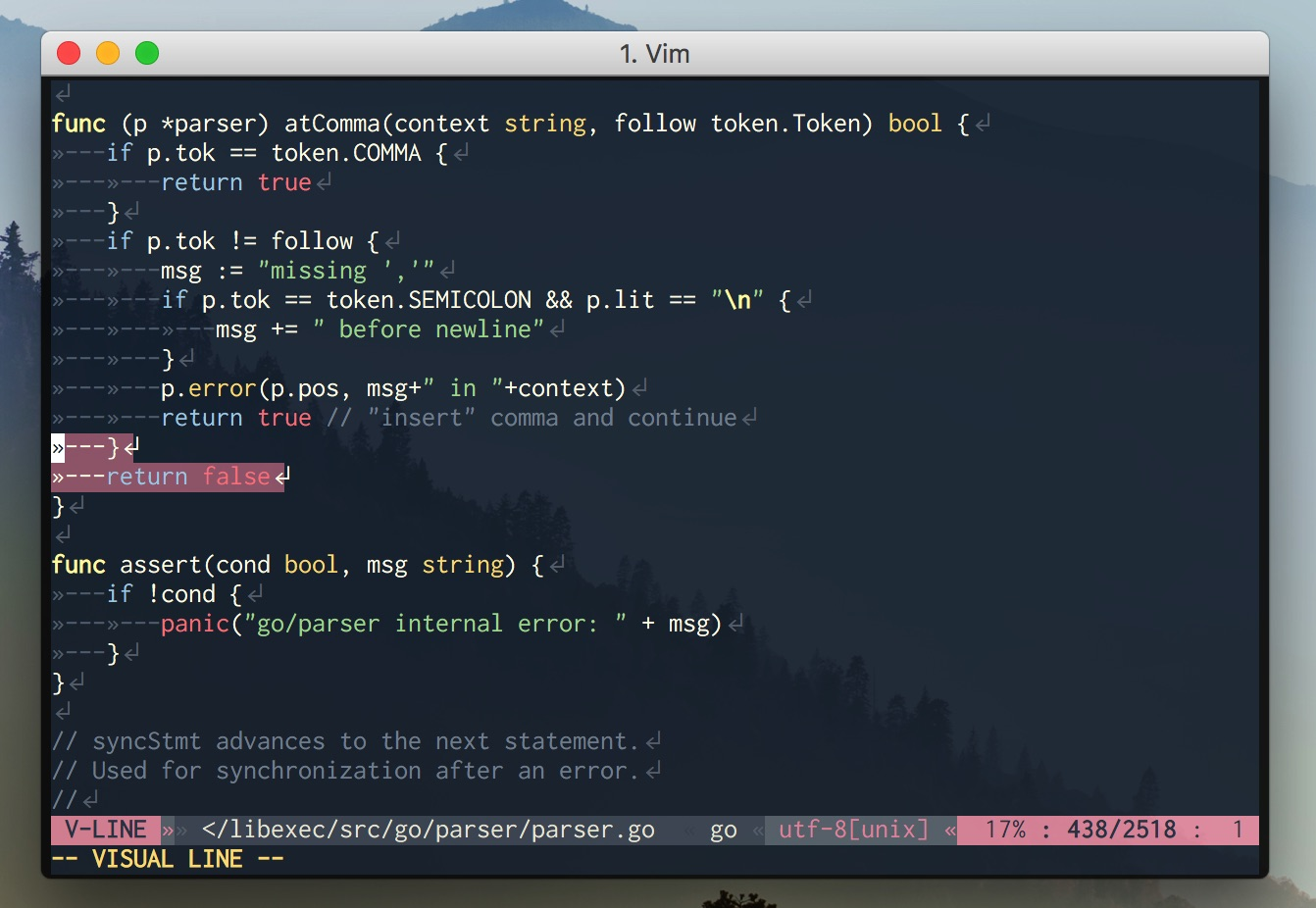 Go on Vim (24bit color)