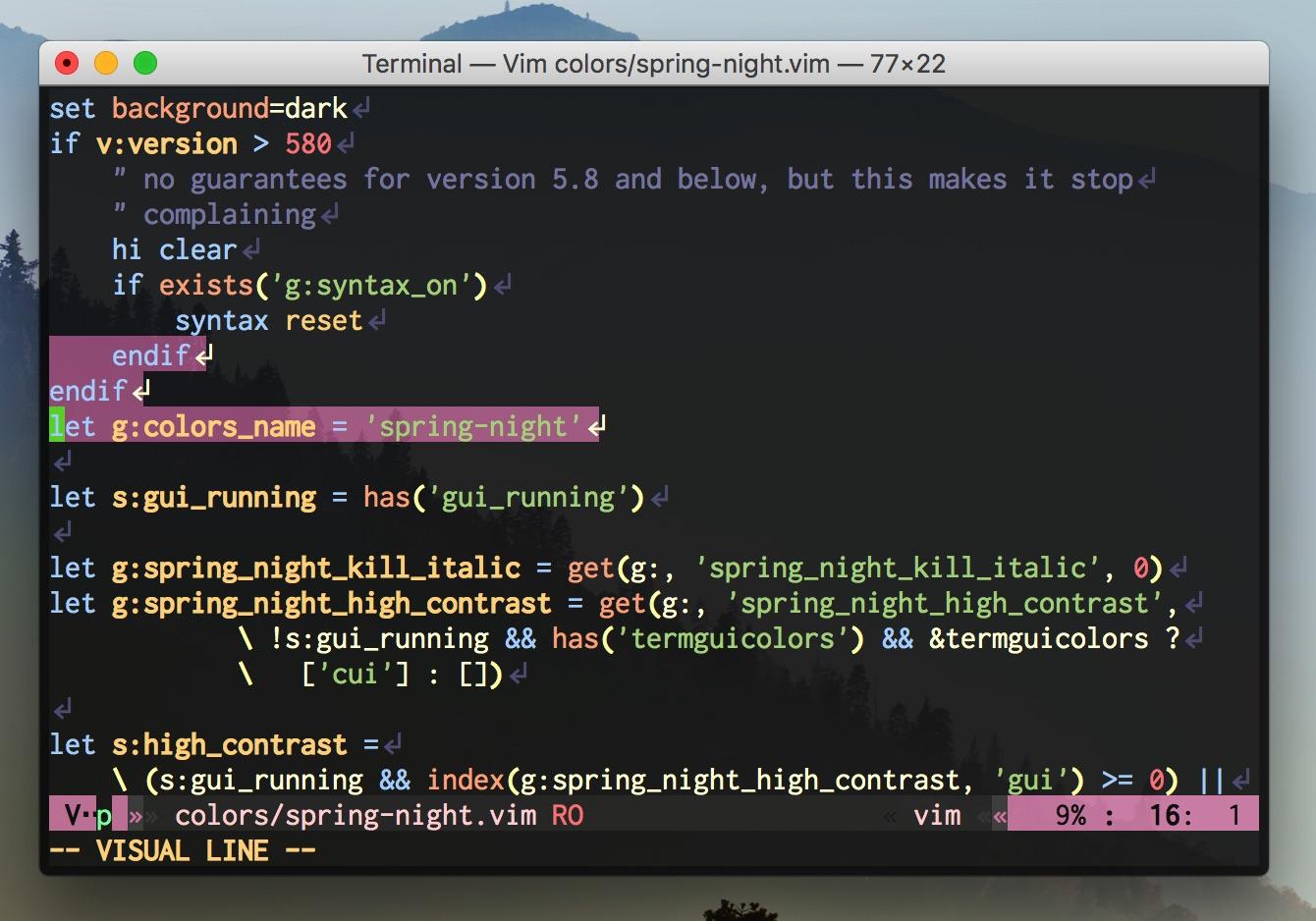 Vim script on Vim (8bit color)
