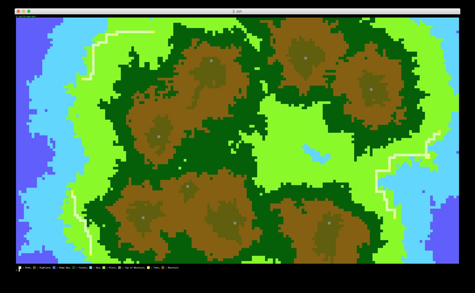 screenshot of map in terminal