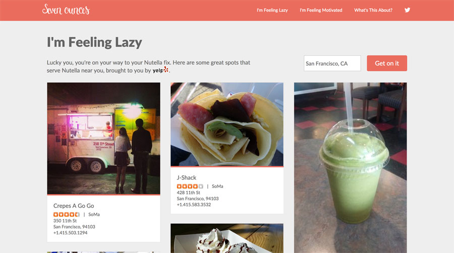 Search the Yelp API for restaurants serving Nutella dishes