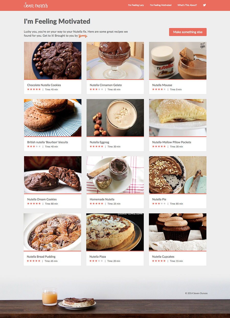 Search the Yummly API for Nutella recipes
