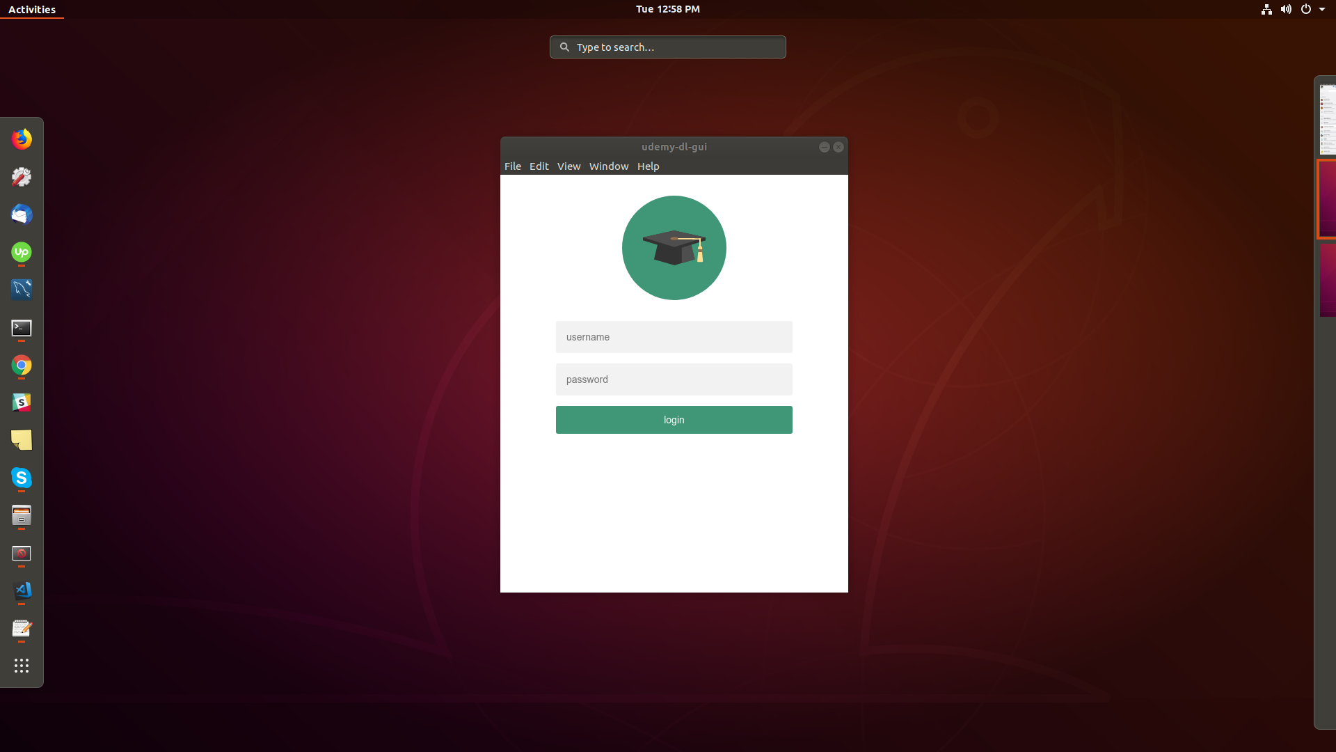 udemy-dl login screen