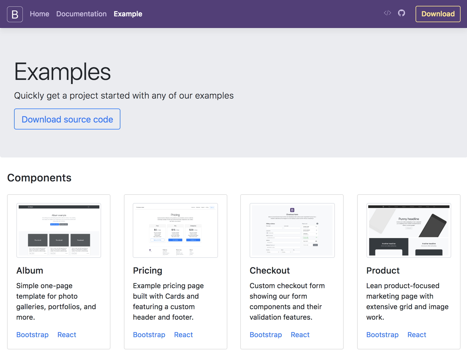 bootstrap 4 examples source code