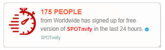 spotmify social proof marketing to display lead signedup statistic