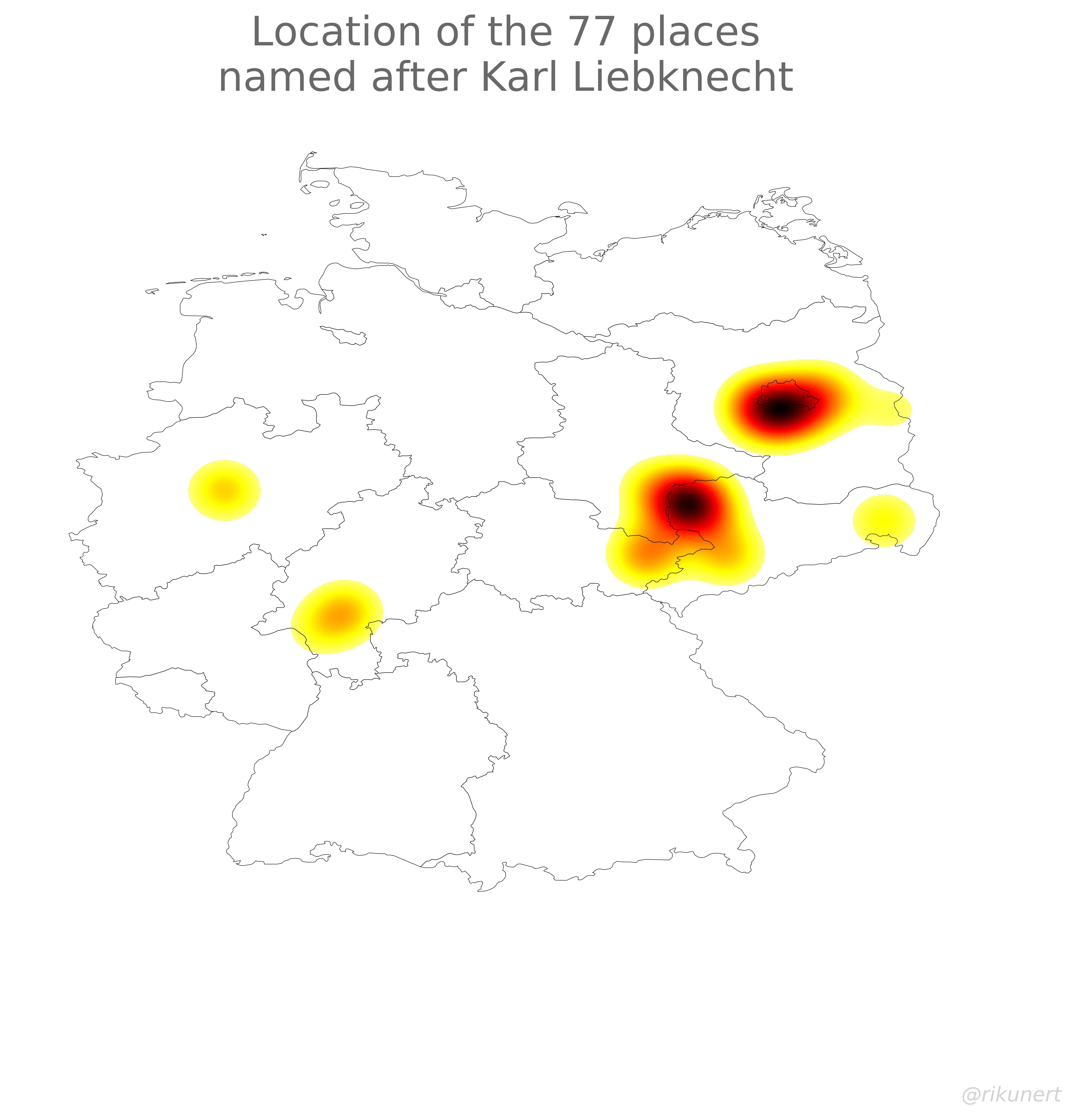 Karl Liebknecht place names heat map