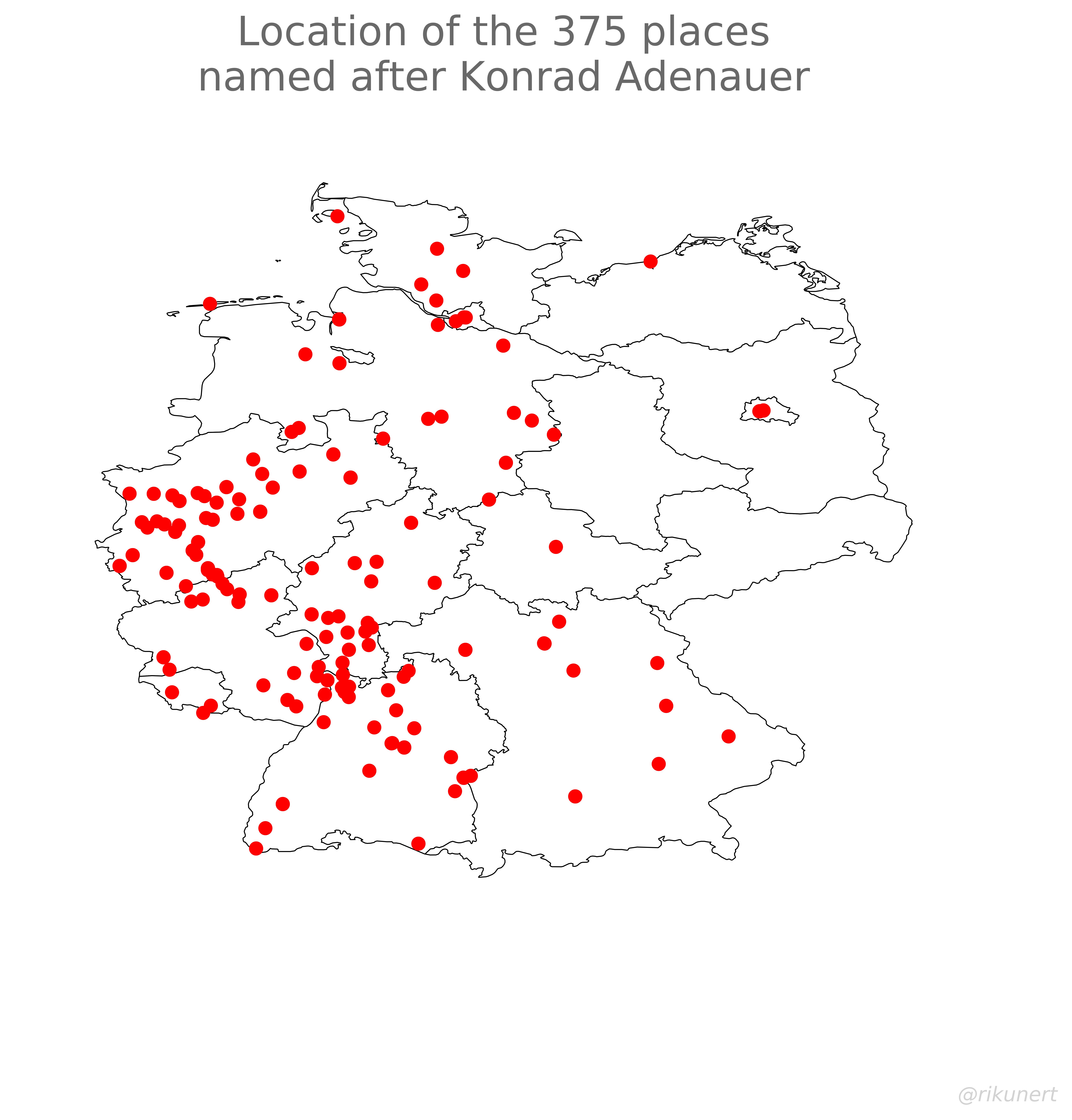 Konrad Adenauer place names scatter plot