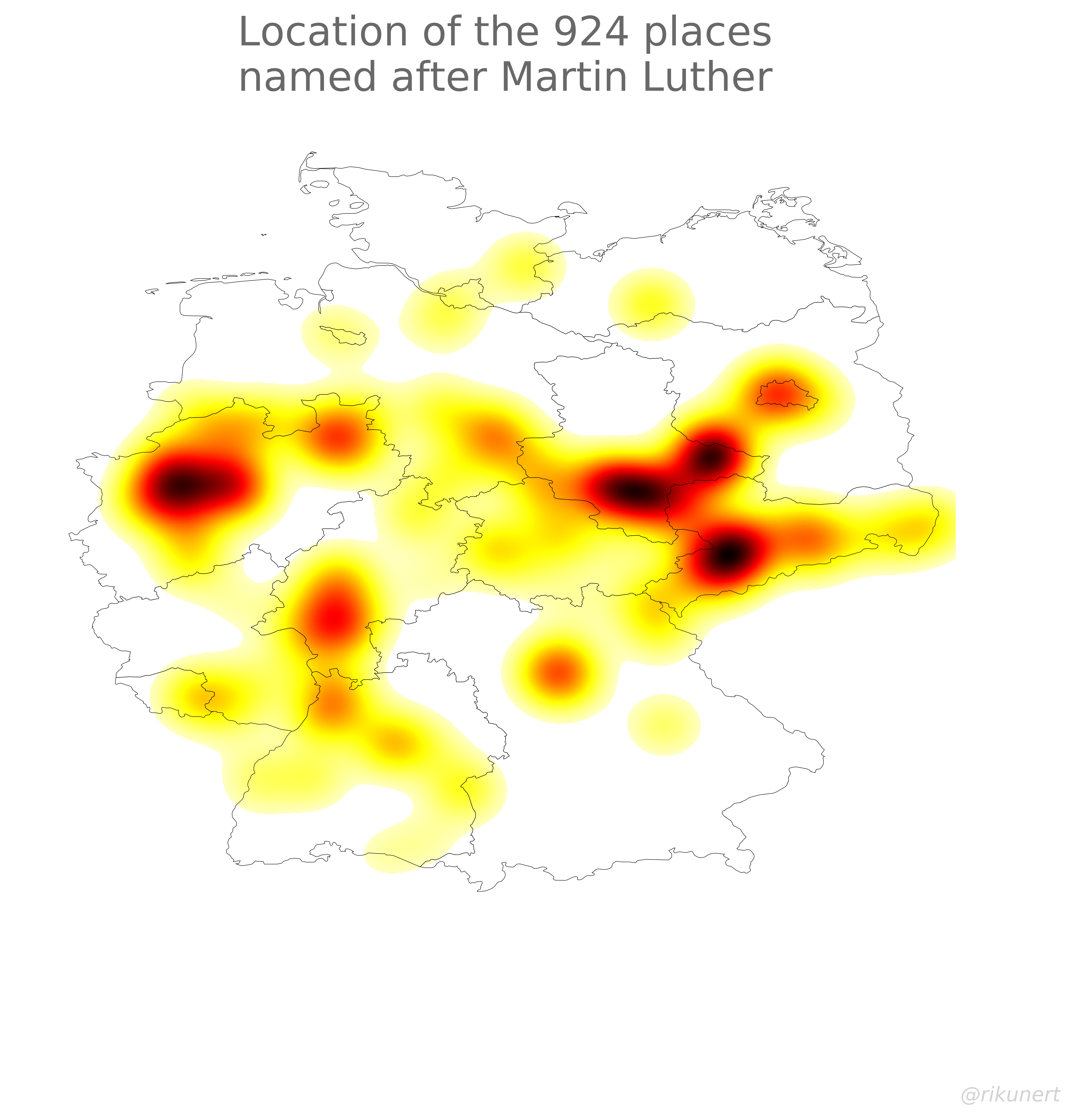 Martin Luther place names heat map