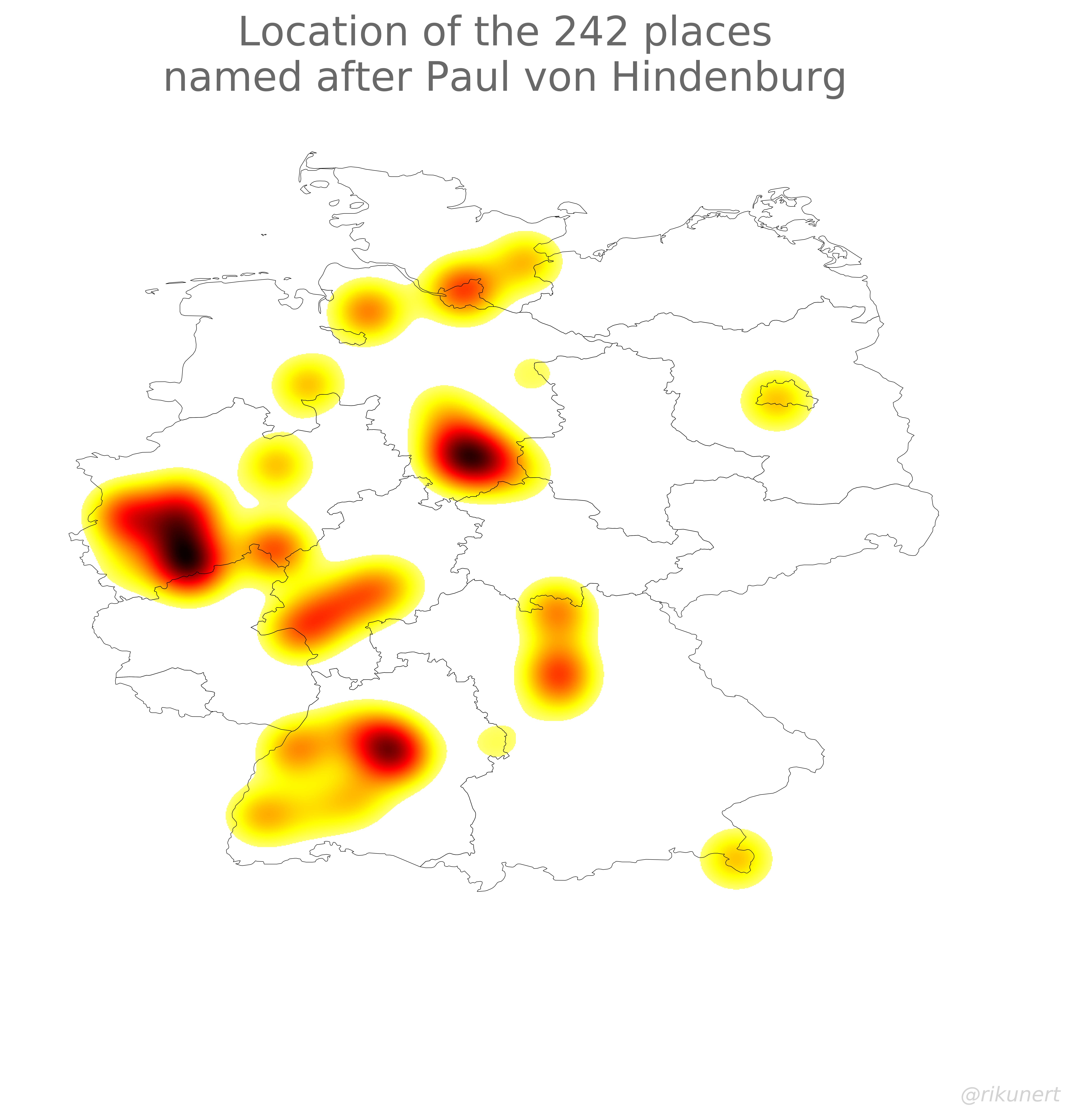 Paul von Hindenburg place names heat map