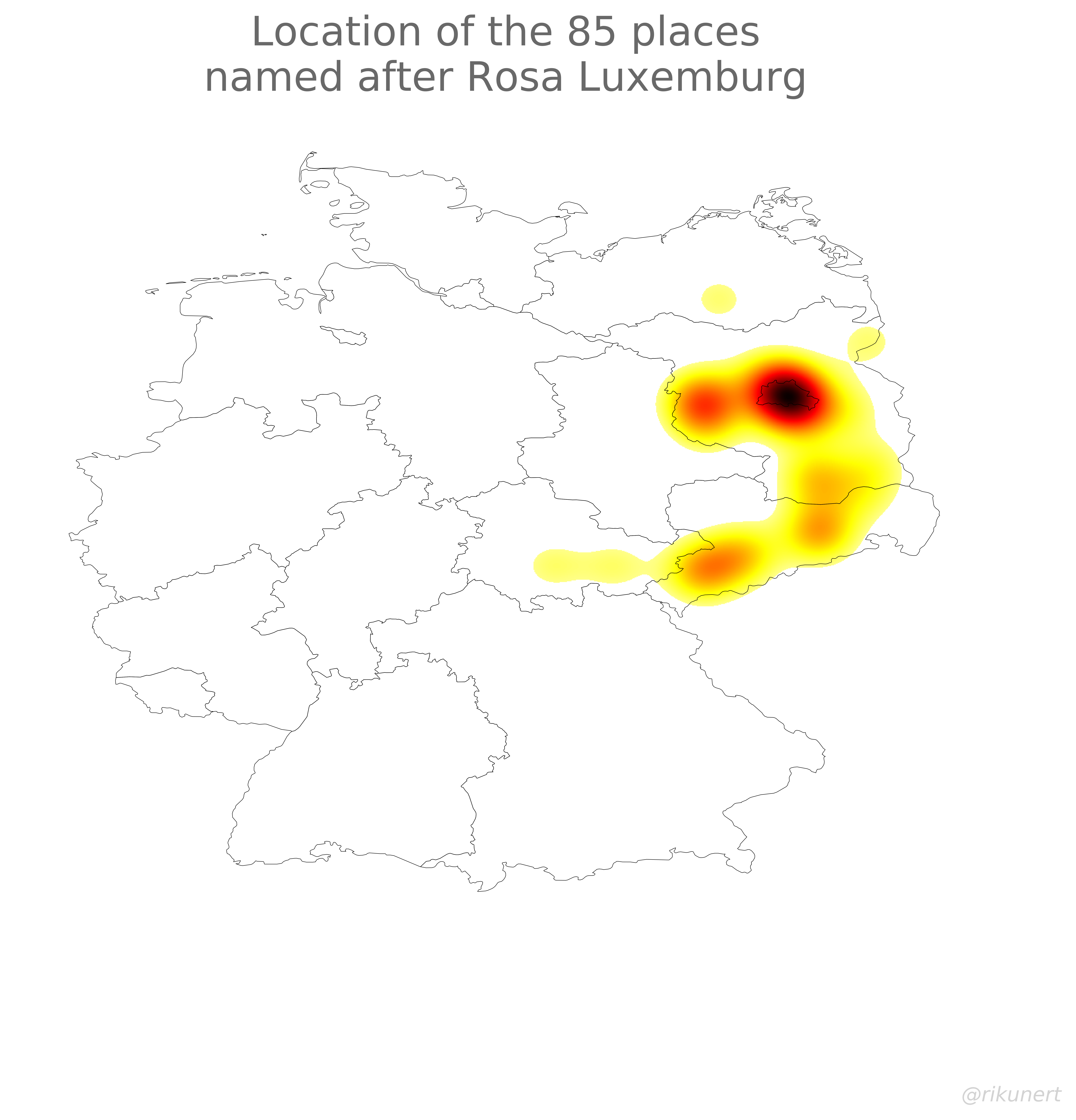 Rosa Luxemburg place names heat map
