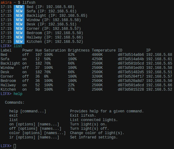 lifxsh example screenshot