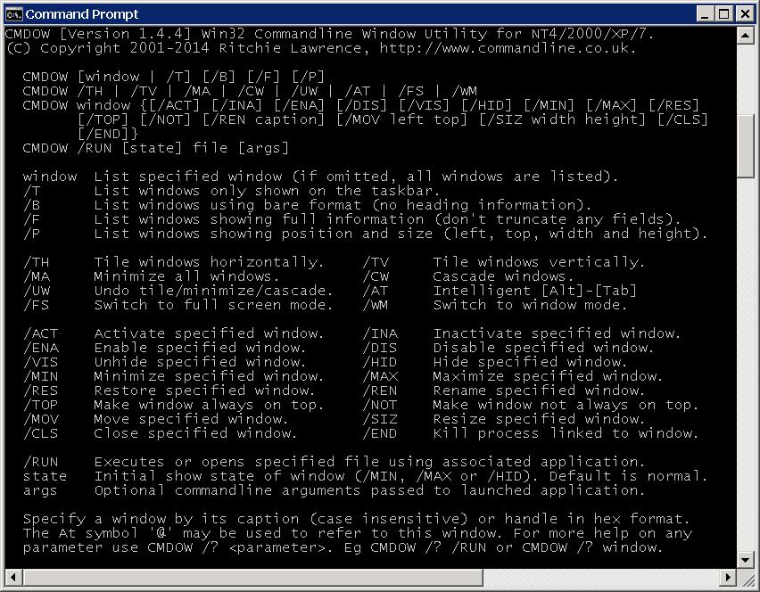 Screenshot of Cmdow
