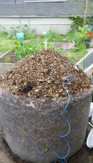 Arduino monitoring a compost pile and sending data through text messages to the Cloud. The same thing could now be built for less without the need for the Cloud server.