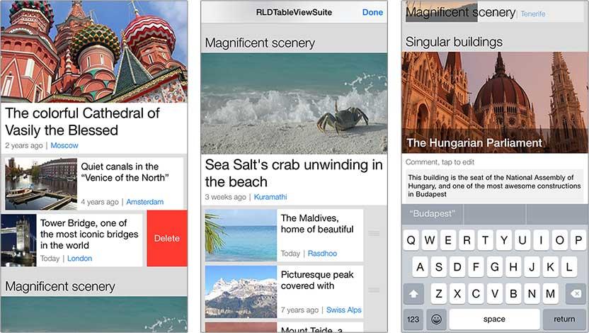 RLDTableViewSuite sample app