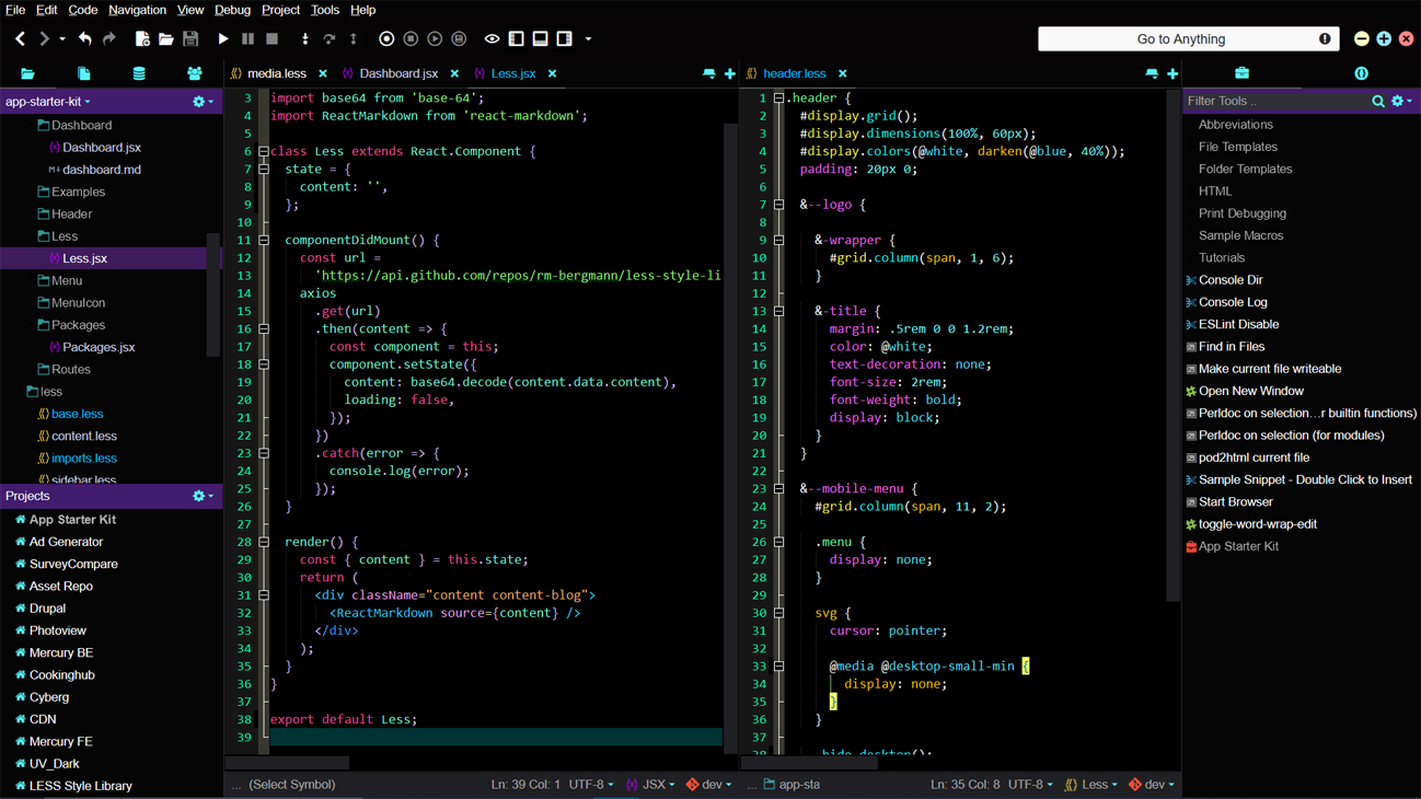 Komodo IDE UV Dark Theme