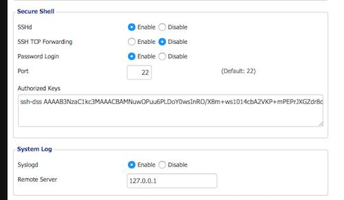 DD-WRT Web Interface - Secure Shell