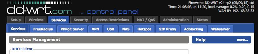 DD-WRT Web Interface - Services tab