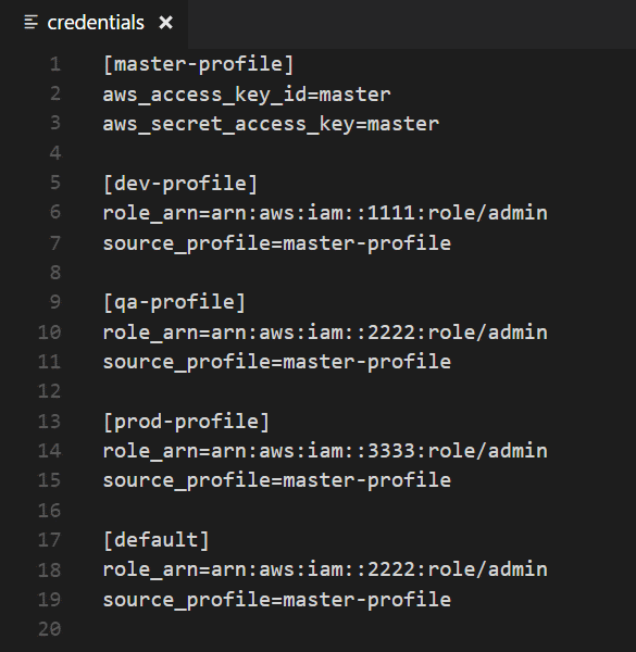 Sample Credentials File with Supported Sections