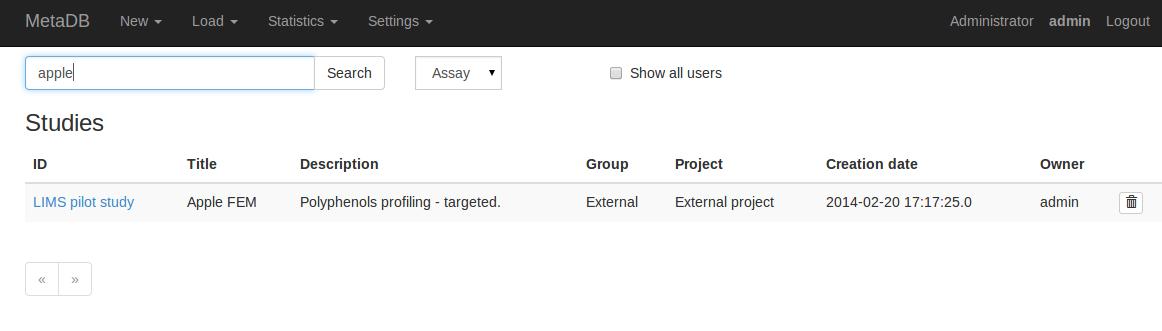 MetaDB search page