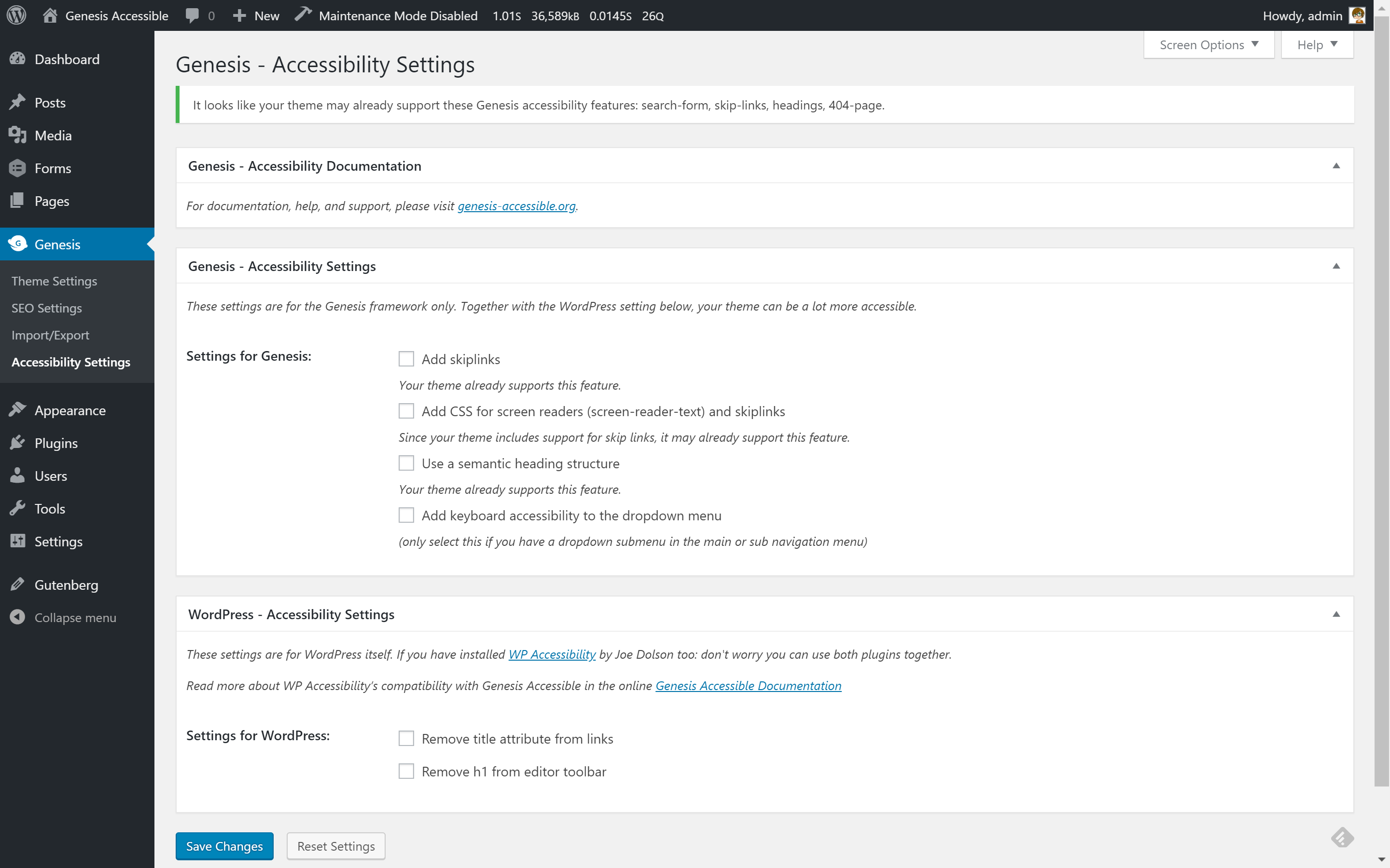 Screenshot of the Genesis Accessible settings page