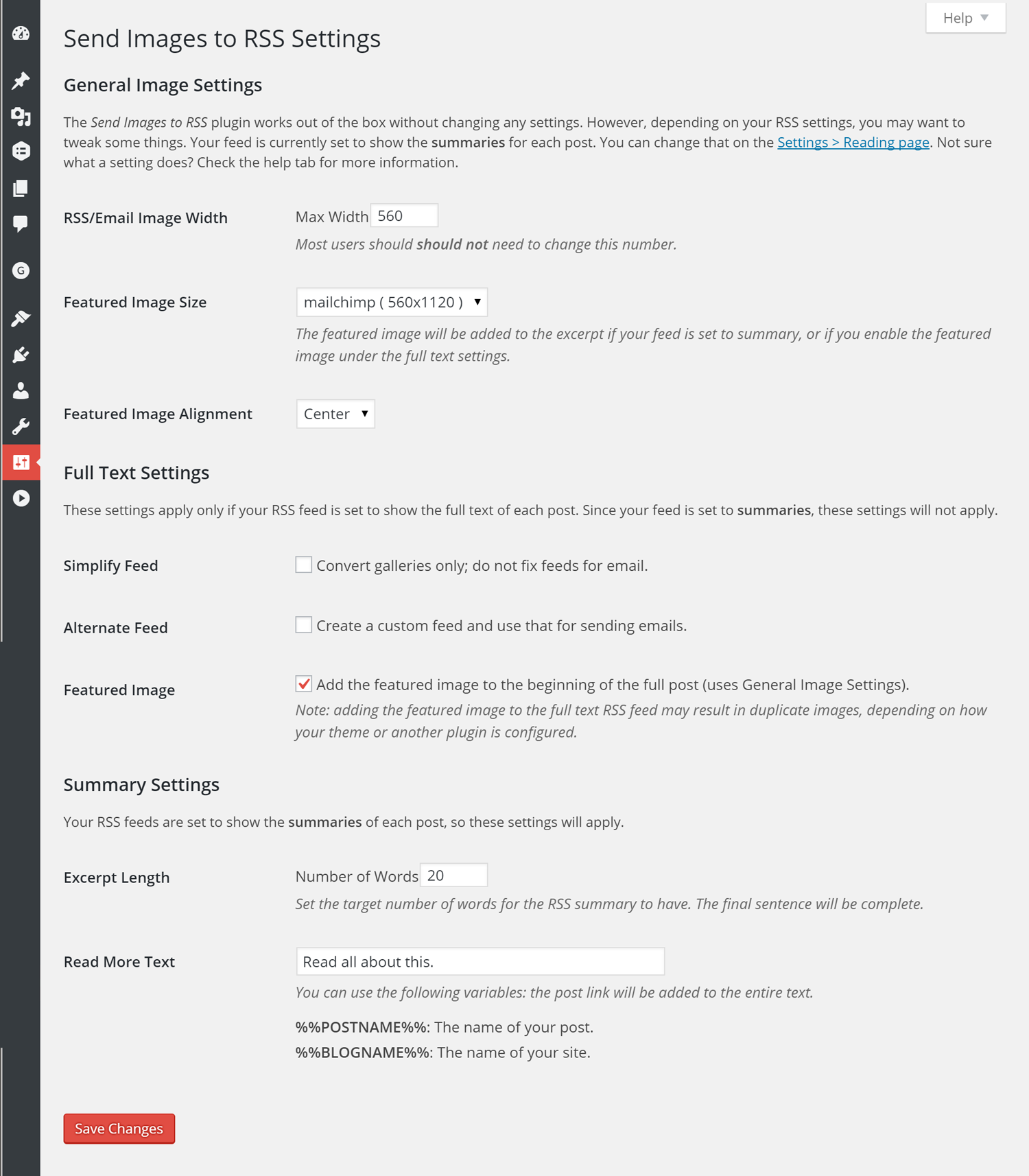 Screenshot of the plugin settings in Settings > Send Images to RSS.