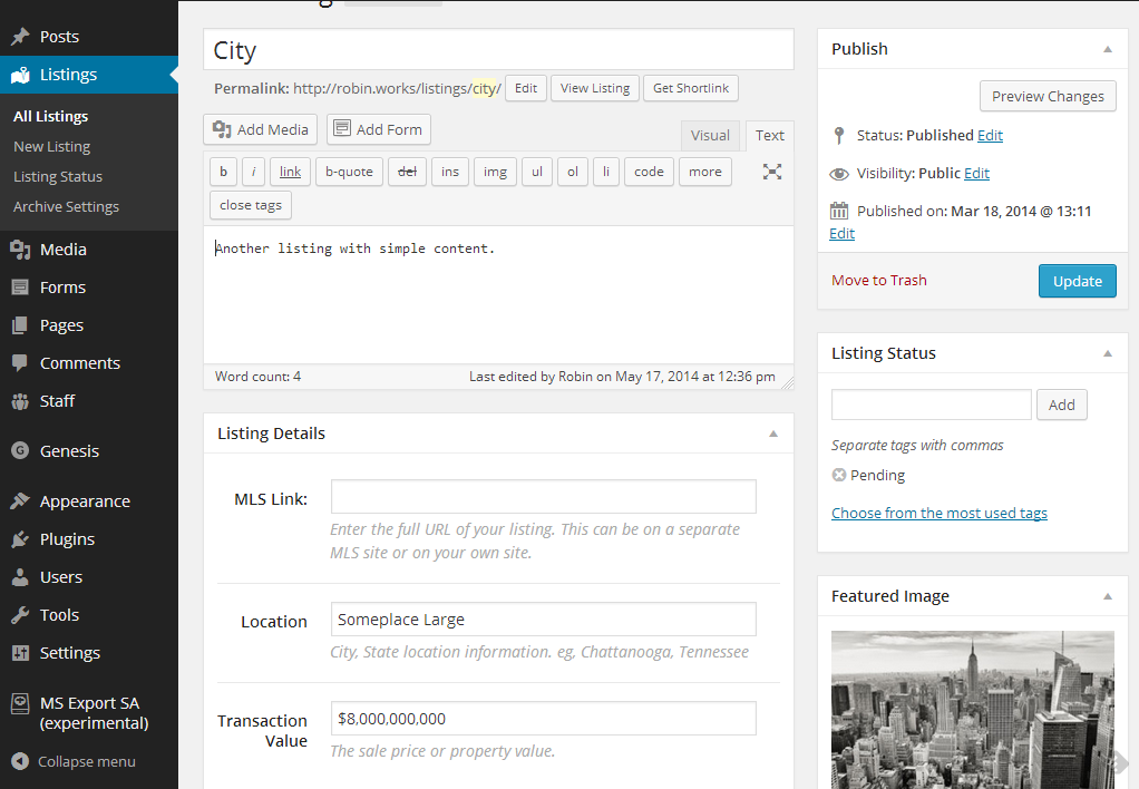 Admin: create/update a new listing. Note metaboxes and featured image.