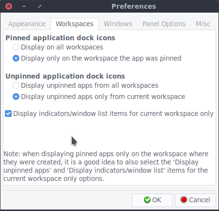 Pinned app workspace settings