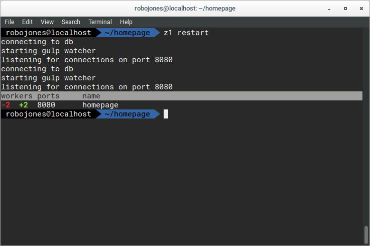 Restart command output
