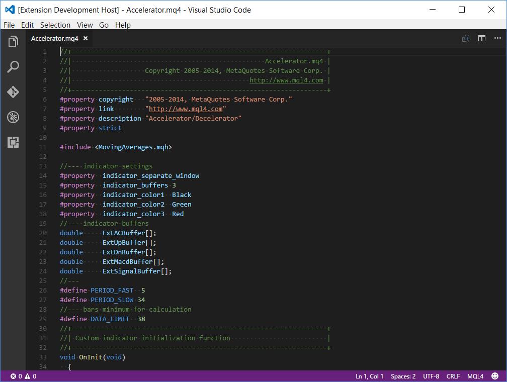 Default MQL4 syntax highlight