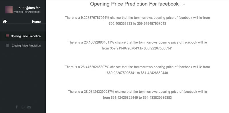 Opening price Prediction of the chosen stock for tommorow.