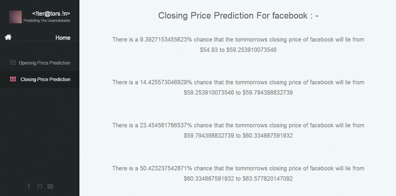 Closing price Prediction of the chosen stock for tommorow.