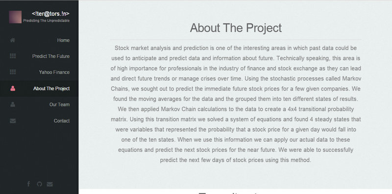 About page for the project