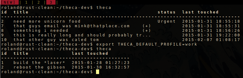 setting the THECA_DEFAULT_PROFILE env var