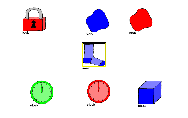Image presented to the experimental subject; grid layout of different types and colors of hand-drawn objects