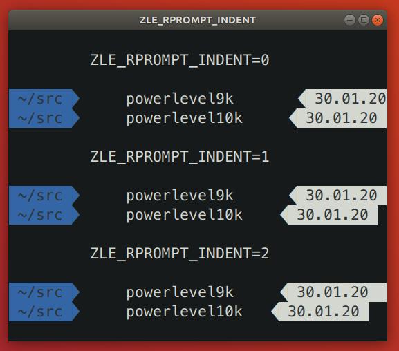 ZLE_RPROMPT_INDENT: Powerlevel10k vs Powerlevel9k