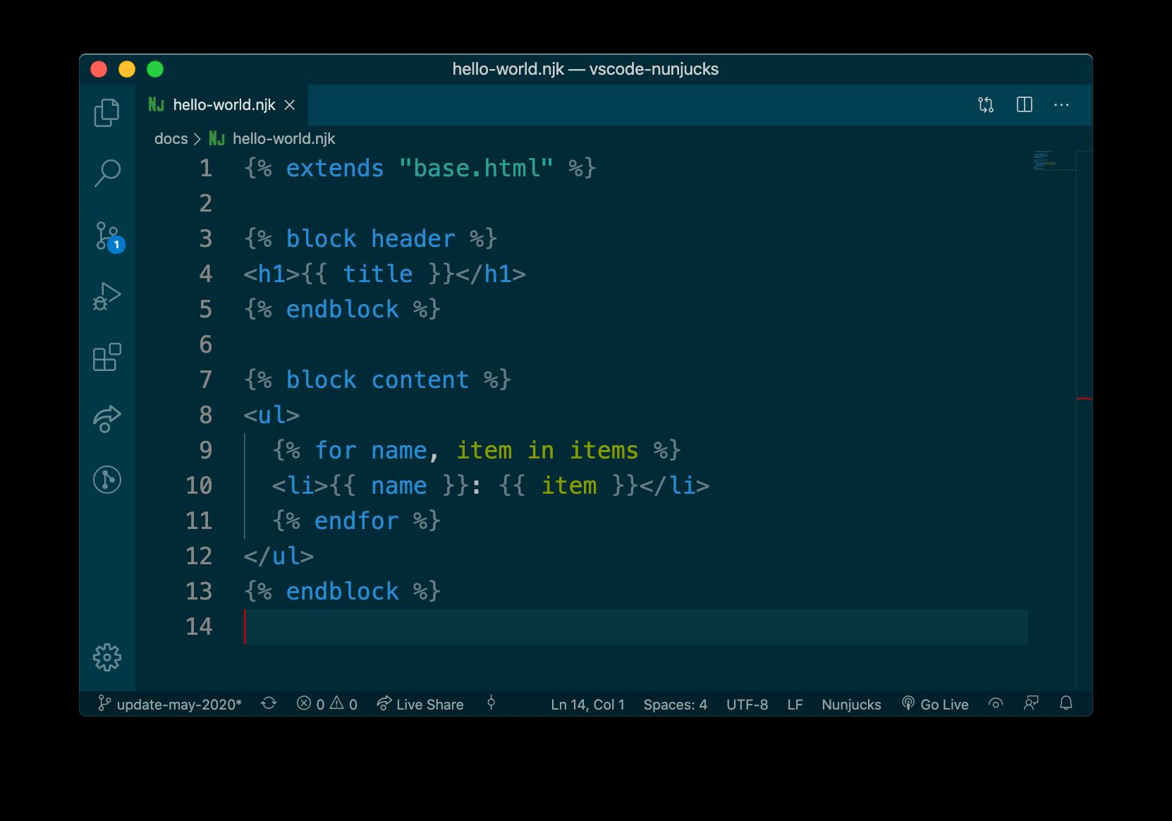 Nunjucks example in Code