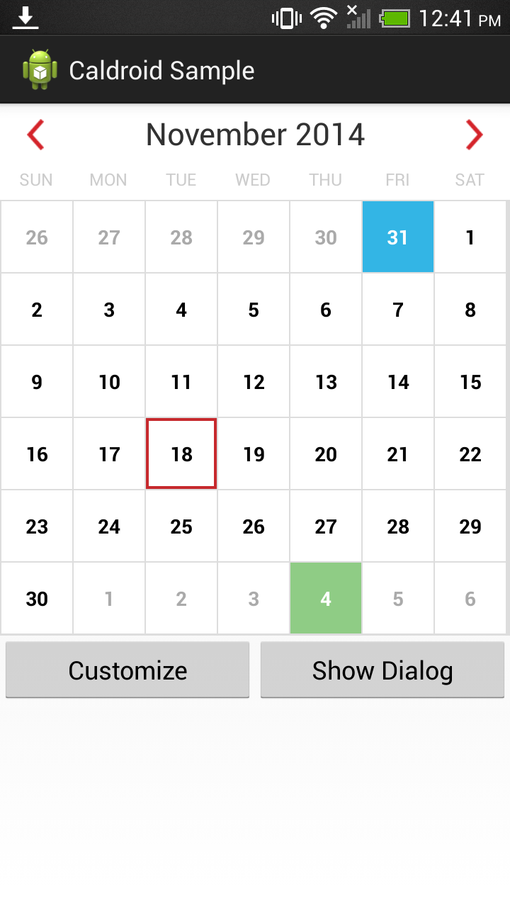 Calendar Layout Android : Caldroid by roomorama