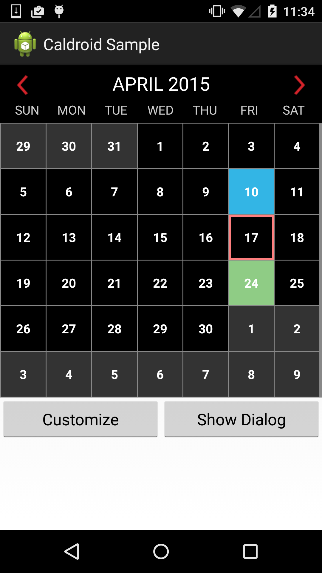 Calendar Layout Android : Caldroid a better calendar for android codekk 开源站