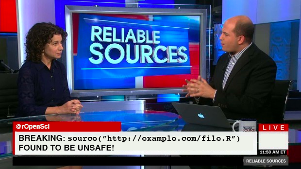 Fake TV news show where the headline is that an R script was found to be unsafe