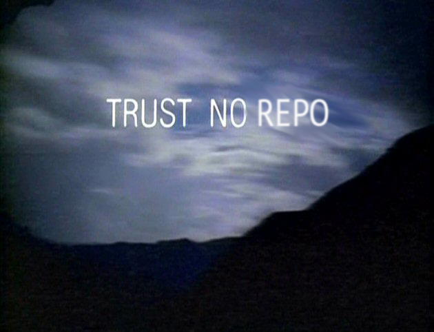 trust no repo written over a landscape