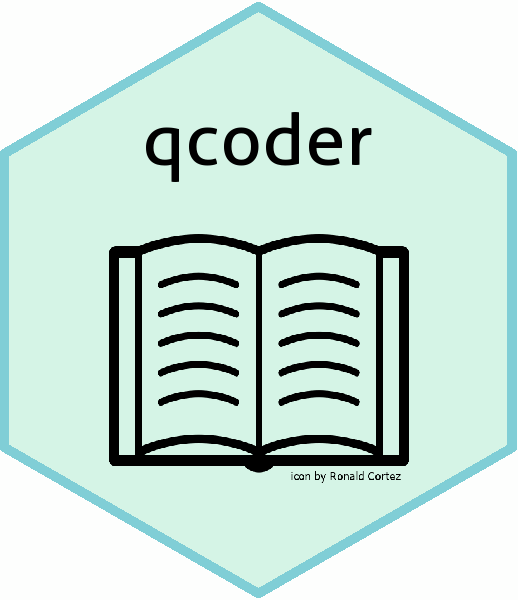 A turquoise hexagon is filled in with an aquamarine background. Qcoder is superimposed in the top point of the hexagon with a line drawing of an open book in the center.