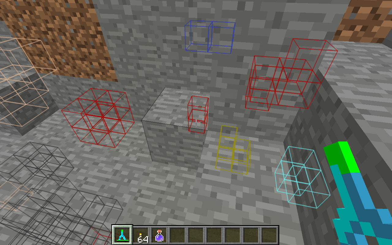 many ores highlighted with a Diamond Dowsing Rod
