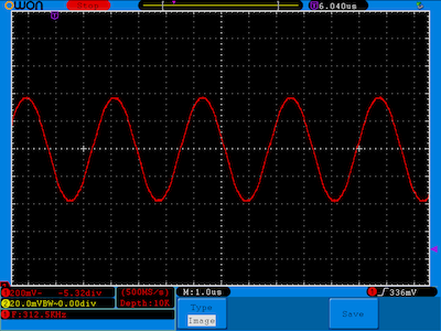 312.5khz dds signal from DAC with 64 step sine table at 20mhz