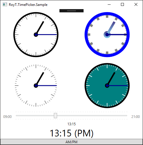 Customizable Touch-Friendly TimePicker Clock for WPF