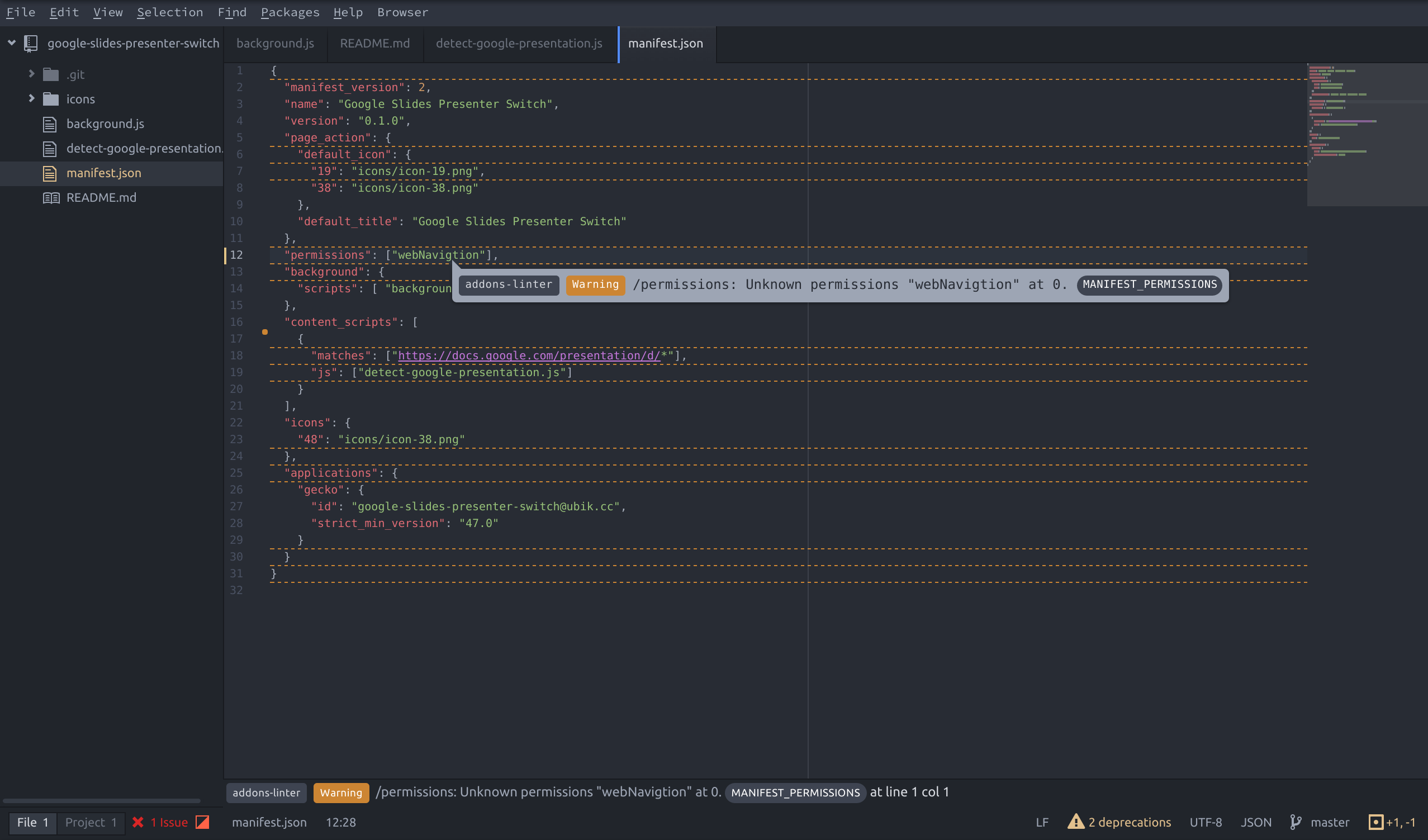Screenshot of atom-webextensions in action