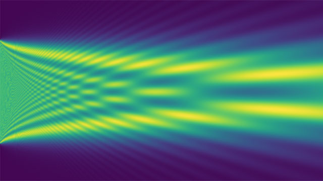 1D wave packet diffraction through a slit