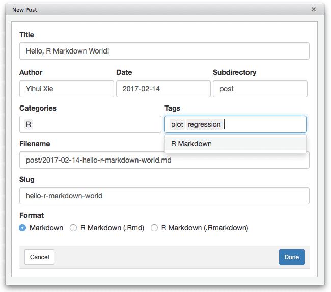 Create a new post using the RStudio addin.