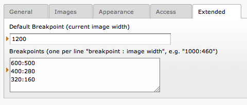 Breakpoint settings for images in content elements