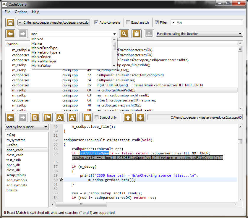 CodeQuery screenshot